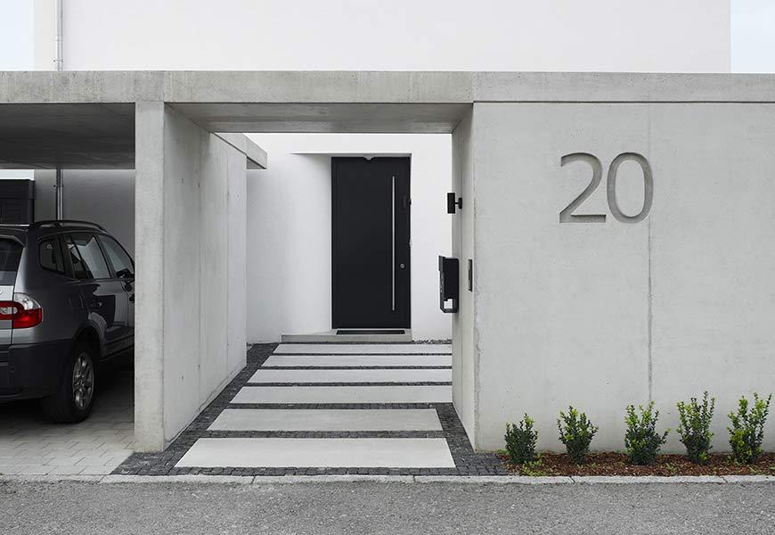 neubau eines einfamilienwohnhauses mit carport. Black Bedroom Furniture Sets. Home Design Ideas